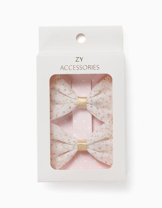 2 Horquillas del Pelo para Niña 'Glitter Bows', Blanco/Dorado