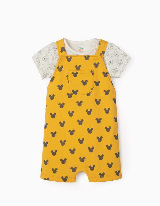 Jardineiras-Calções e Body para Recém-Nascido 'Mickey', Amarelo/Branco