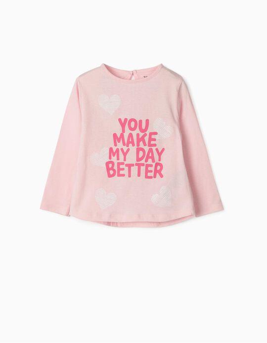 T-shirt Manga Comprida para Bebé Menina 'Better Day', Rosa
