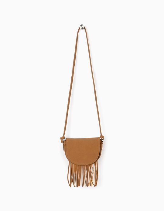 Crossbody Bag with Fringes for Girls, Light Brown