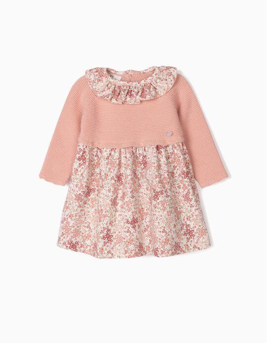 Vestido de Dos Materias para Recién Nacida de 'Flores', Rosa