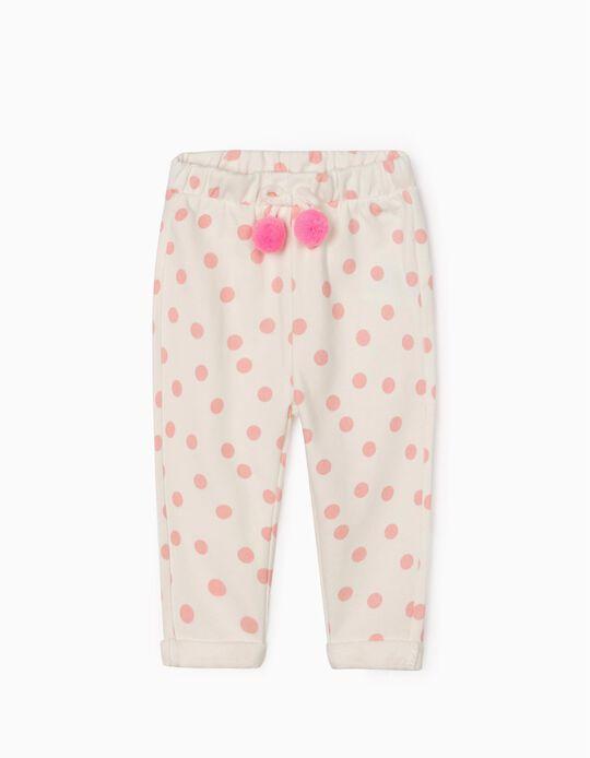 Calças de Treino para Bebé Menina 'Dots', Branco