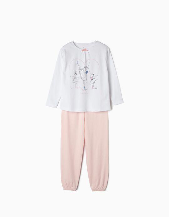 Pijama para Menina 'Little Ballerina', Branco e Rosa