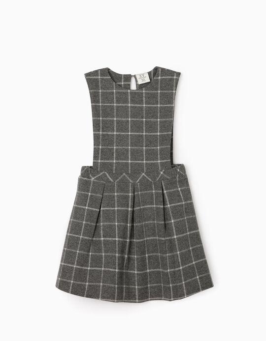 Plaid Dungaree dress for Girls, Grey