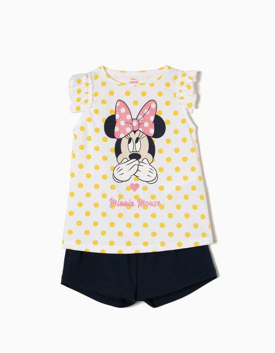 T-shirt e Calções para Menina 'Cute Minnie', Branco e Azul