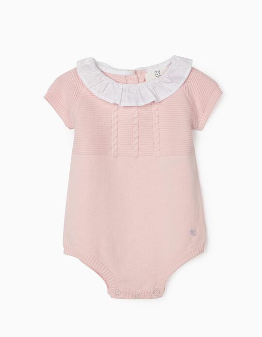 Knitted Jumpsuit for Newborn Baby Girls, Pink