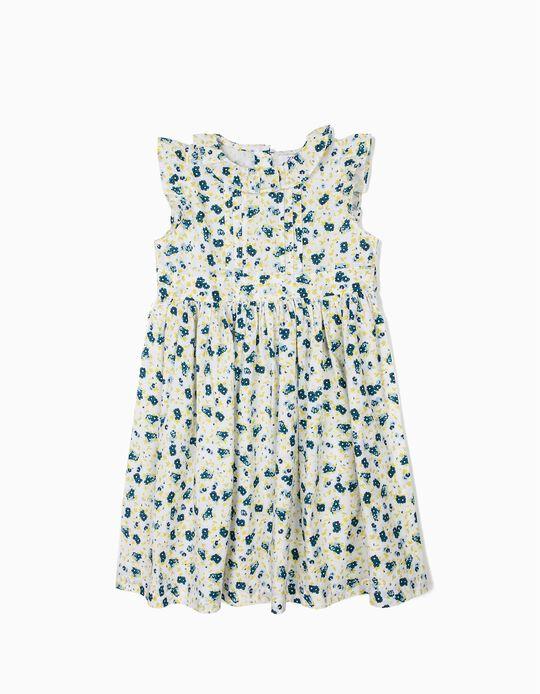 Vestido para Menina Flores, Branco e Azul