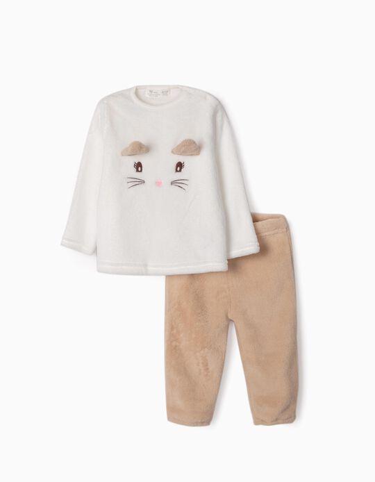 Pijama de Coralina para Bebé Niña 'Cute Cat', Blanco/Beige