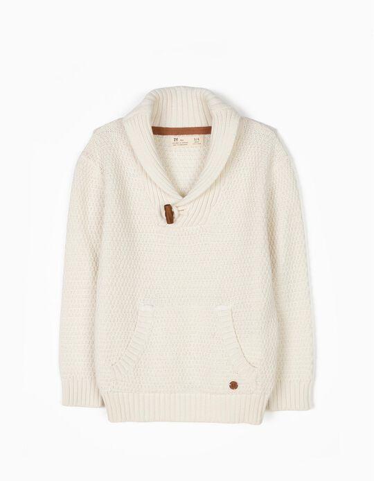 Camisola Malha Branca com Bolso