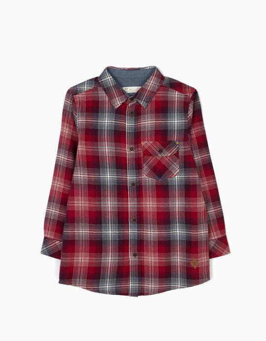 Camisa Ajedrez con Bolsillo Roja