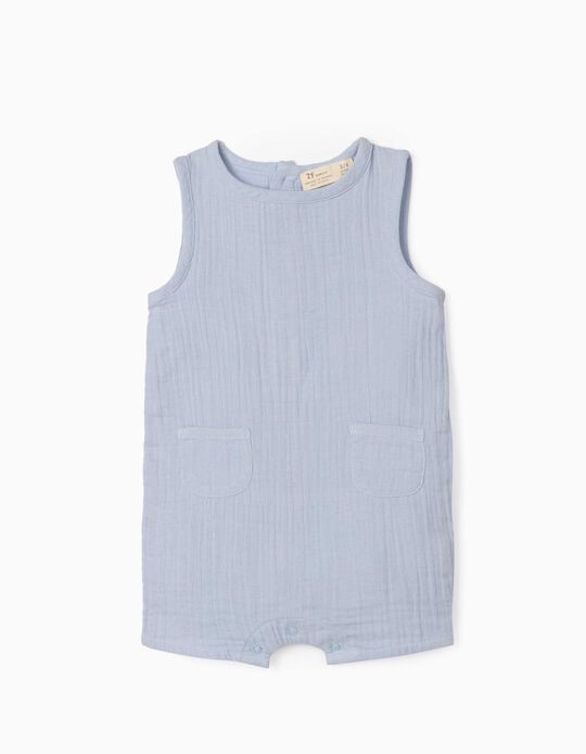 Textured Jumpsuit for Newborn Baby Boys, Light Blue