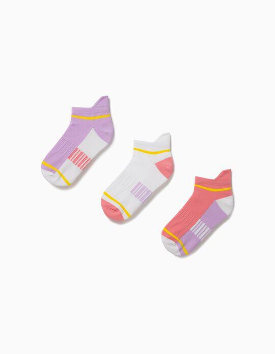 3 paires de chaussettes de sport fille, multicolore