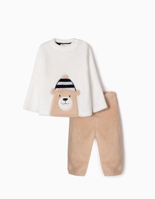 Pijama de Coralina para Bebé Niño 'Cute Bear', Blanco/Beige