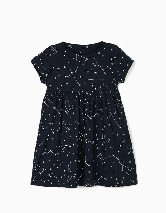 Jersey Knit Dress for Girls 'Stars', Dark Blue