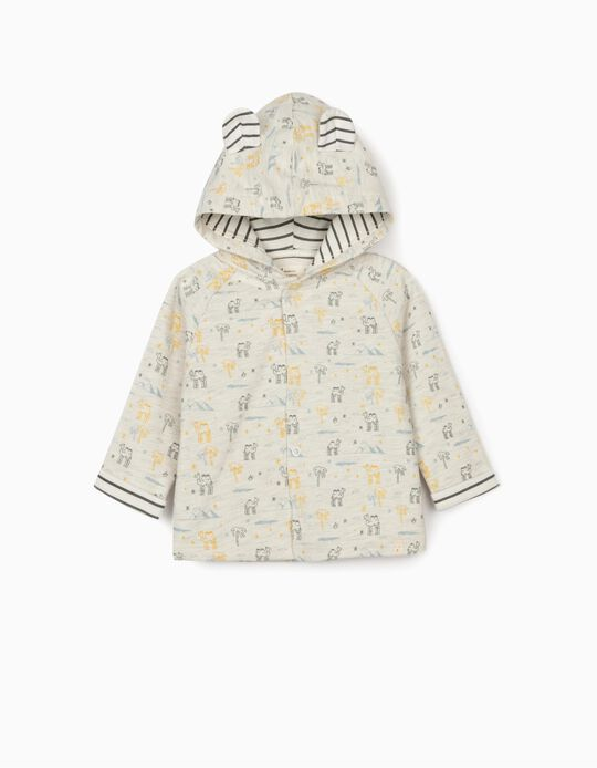 Hooded Jacket Newborn Baby Boys, 'Camels', Marl Grey