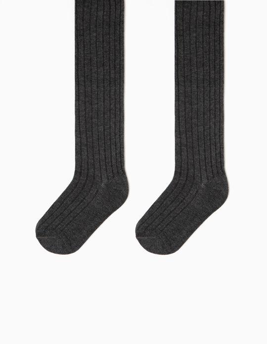 Collants Canelados para Menina, Cinza Escuro