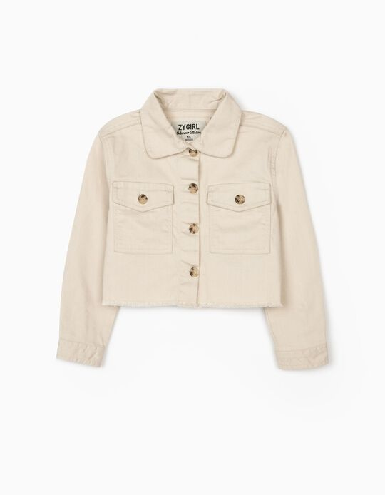 Cropped Jacket for Girls, Beige