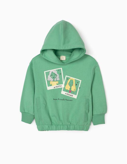 Hooded Sweatshirt for Girls 'Best Friends Forever', Green