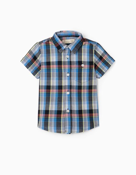 Plaid Short Sleeve Shirt for Baby Boys, Blue