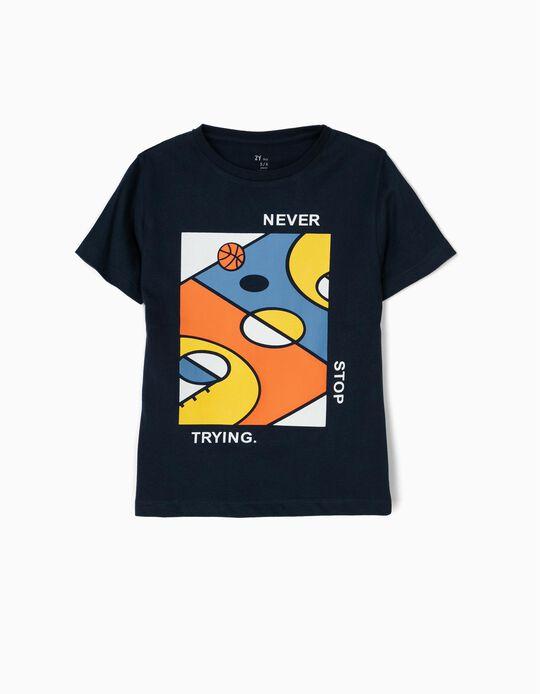 Camiseta para Niño 'Basketball', Azul Oscuro