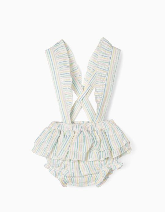 Striped Shorts with Straps, for Newborn Baby Girls, Multicoloured