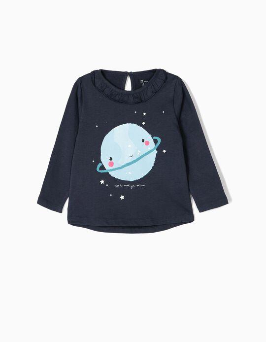 Camiseta de Manga Larga para Bebé Niña 'Saturn', Azul Oscura