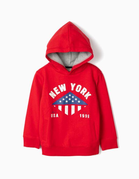 Sweatshirt com Capuz para Menino 'New York', Vermelho
