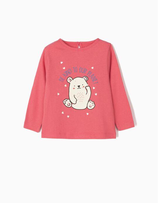 T-shirt Manga Comprida para Bebé Menina 'Be Kind', Rosa