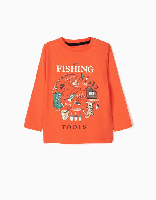 Long Sleeve Top for Baby Boys, 'Treehouse', Coral