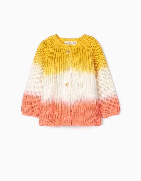 Degradé Knit Cardigan for Baby Girls, Yellow/White/Pink