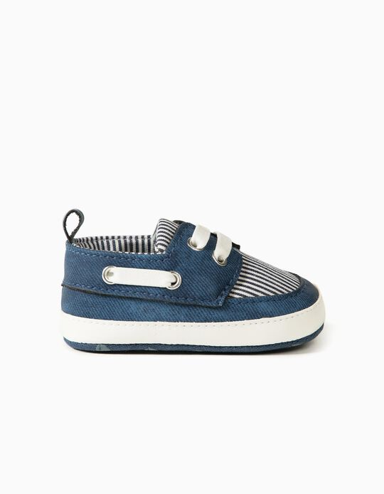 Pram Shoes in Different Materials for Newborns, Blue/Striped
