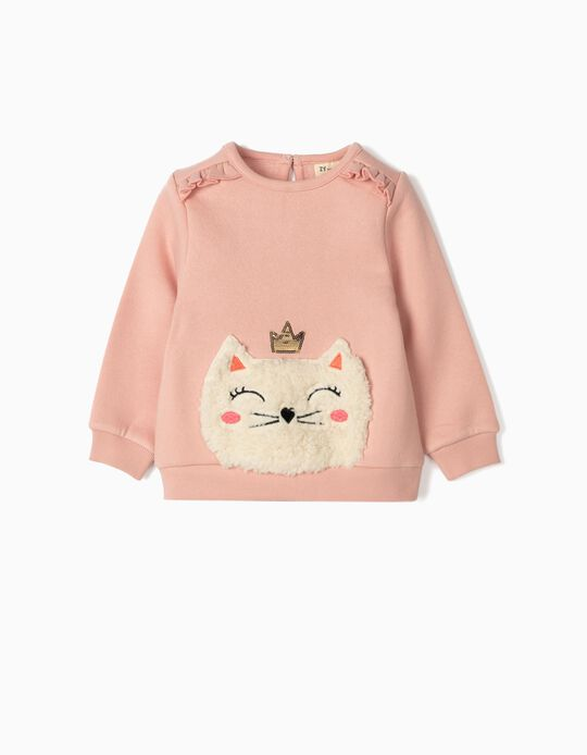 Sweatshirt for Baby Girls, 'Cat Queen', Pink