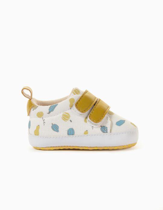 Zapatillas de Tejido para Recién Nacido, Blanco/Amarillo