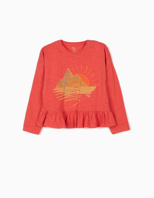 Camiseta de Manga Larga con Volante para Niña, Coral