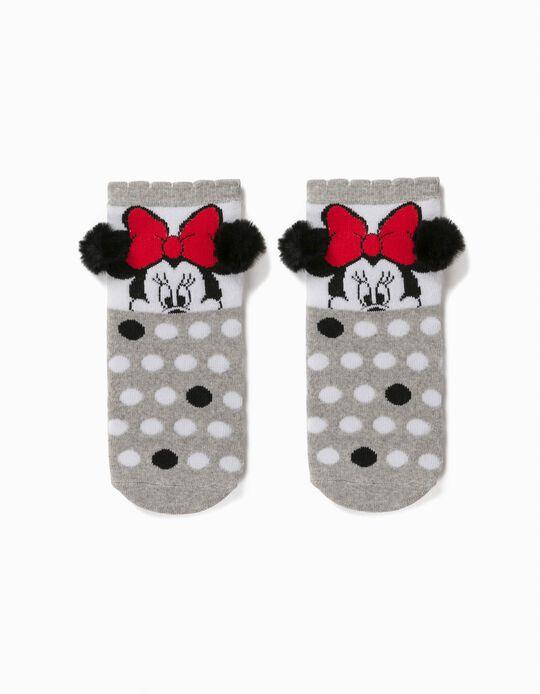 Calcetines Antideslizantes para Niña 'Minnie', Gris/Blanco