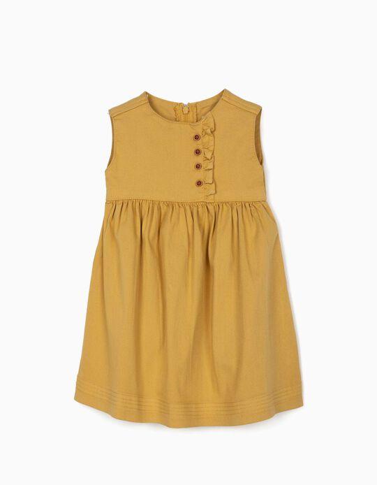 Vestido de Sarga para Bebé Niña, Amarillo Tostado