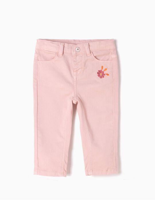 Calças de Sarja Flor Rosa