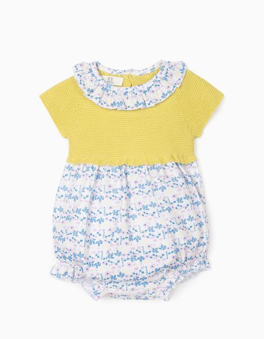Dual Fabric Jumpsuit for Newborn Baby Girls, Yellow/White