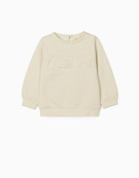 Sweatshirt for Baby Girls 'Dots', Light Green