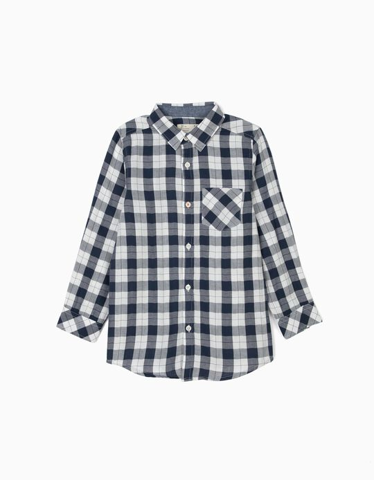 Camisa Ajedrez para Niño, Azul Oscuro y Blanco