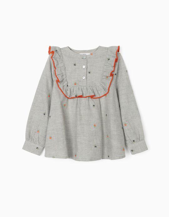 Blusa para Menina 'Flowers', Cinza