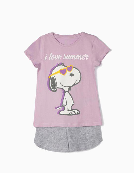 Pijama para Menina 'Snoopy Summer', Lilás e Cinza