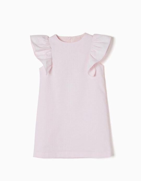 Vestido com Folhos Rosa Claro