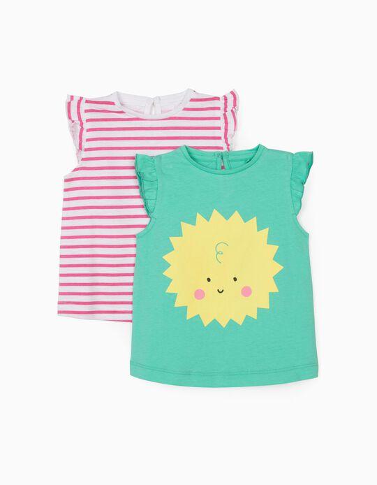 2 T-shirts à rayures bébé fille 'Sun', vert d'eau