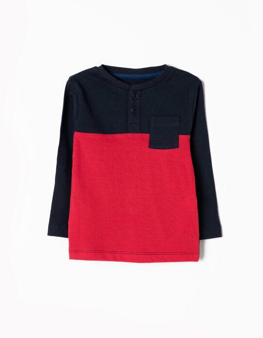 Camiseta de Manga Larga Azul y Rojo