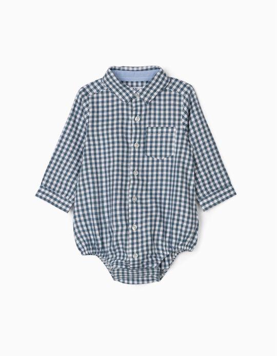 Body Camisa para Recién Nacido 'Vichy', Azul/Blanco