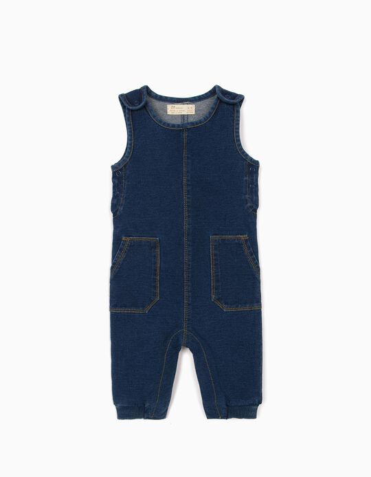 Jumpsuit Shirt for Newborn Baby Boys, 'Comfort Denim', Blue