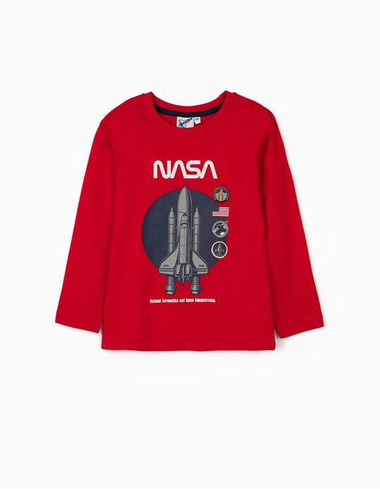 Camiseta de Manga Larga para Niño 'NASA', Roja