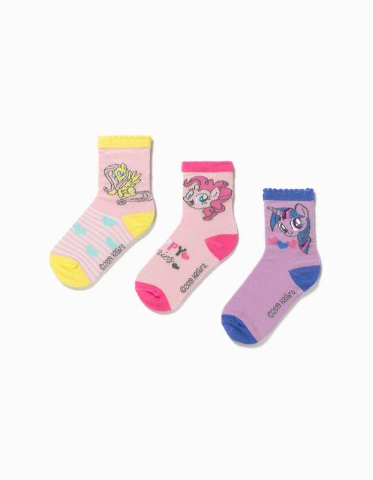 3 Pares de Calcetines para Niña 'My Little Pony', Rosa/Lila