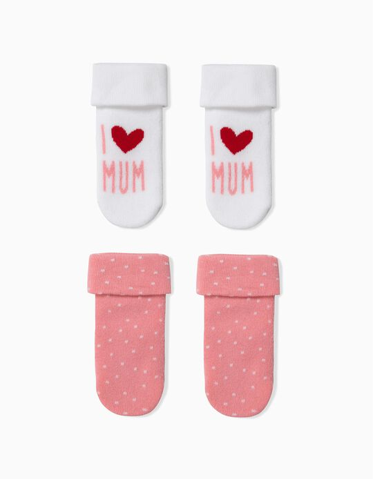 Pack 2 Calcetines para Bebé Niña 'Mum', Blanco y Rosa